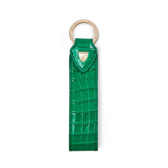 Leather Loop Keyring in Deep Shine Emerald Green Small Croc from Aspinal of London