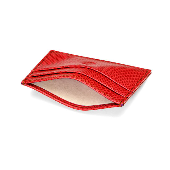 Slim Credit Card Case in Berry Lizard from Aspinal of London