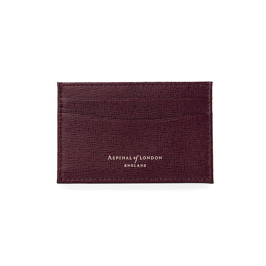 Slim Credit Card Case in Burgundy Saffiano from Aspinal of London