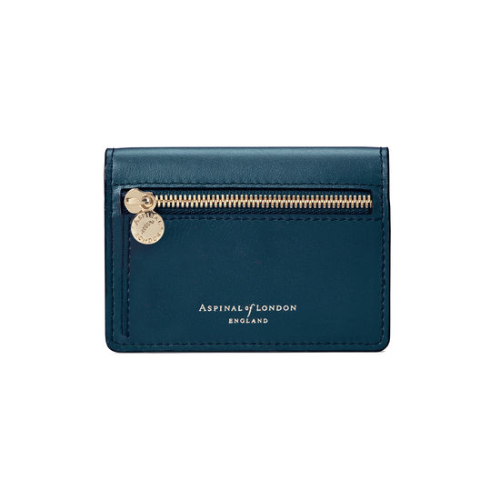 Accordion Credit Card Holder in Smooth Topaz from Aspinal of London