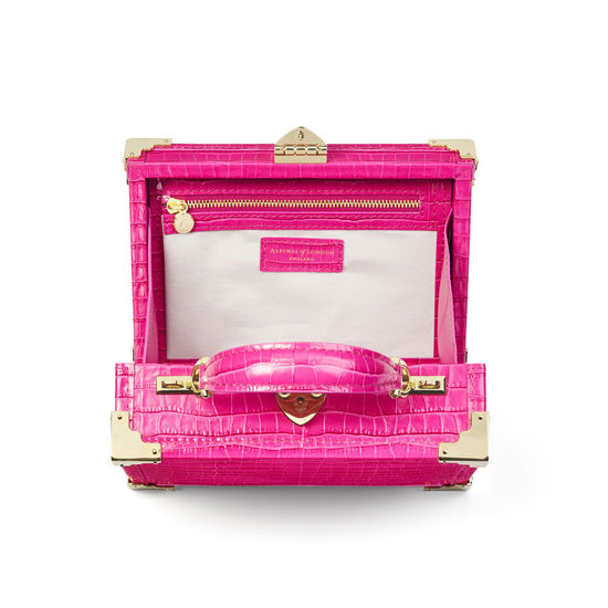 The Trunk in Deep Shine Penelope Pink Small Croc from Aspinal of London