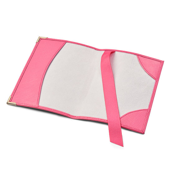 Passport Cover in Bright Pink Saffiano & Ice Grey Suede from Aspinal of London