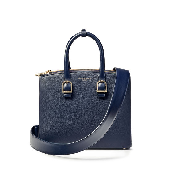 Midi Madison Tote in Navy Pebble from Aspinal of London