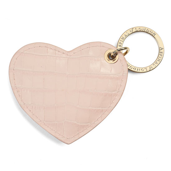 Heart Keyring in Deep Shine Shell Pink Small Croc from Aspinal of London