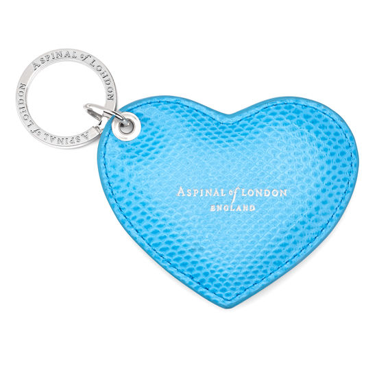 Heart Key Ring in Aquamarine Lizard from Aspinal of London