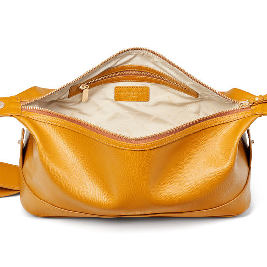 Mens Classic Washbag in Mustard Saffiano from Aspinal of London