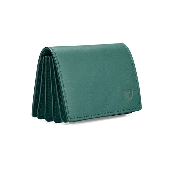 Accordion Credit Card Holder in Smooth Sage from Aspinal of London