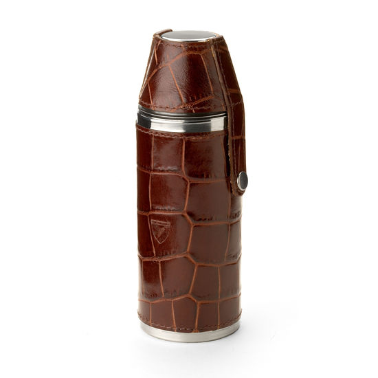 Hunter 8oz Leather Hip Flask in Deep Shine Amazon Brown Croc & Stone Suede from Aspinal of London