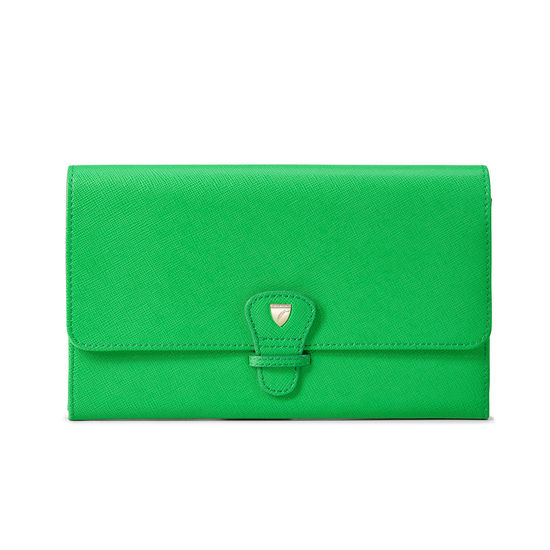 Classic Travel Wallet in Bright Green Saffiano & Ice Grey Suede from Aspinal of London