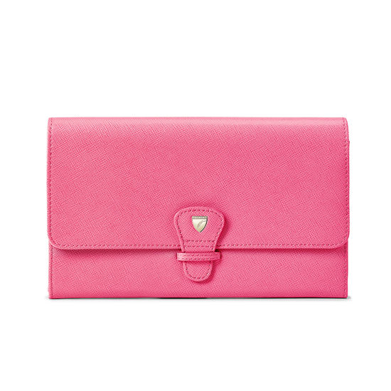 Classic Travel Wallet in Bright Pink Saffiano & Ice Grey Suede from Aspinal of London