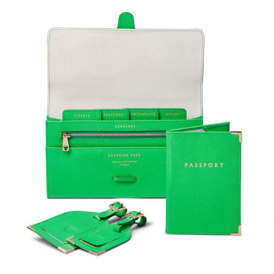 Classic Travel Collection in Bright Green Saffiano & Ice Grey Suede from Aspinal of London