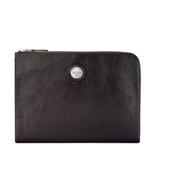 Aerodrome Zip Folio in Dark Brown Pebble from Aspinal of London