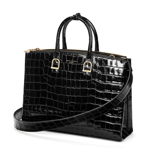 Madison Tote in Deep Shine Black Croc from Aspinal of London