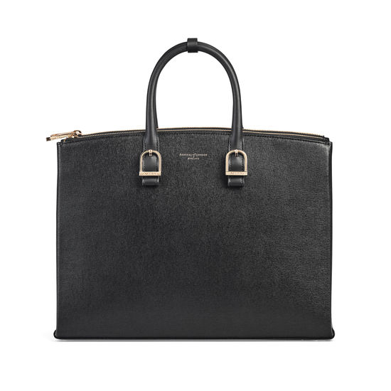 Madison Tote in Black Saffiano from Aspinal of London