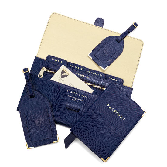 Classic Travel Collection in Midnight Blue Lizard from Aspinal of London