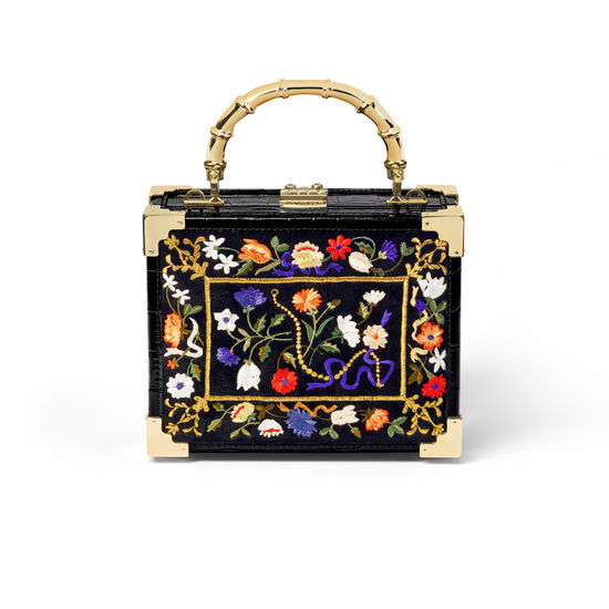 The Trunk in Black Velvet with Floral Embroidery from Aspinal of London