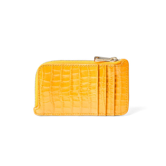 Zipped Coin & Card Holder in Deep Shine Bright Mustard Small Croc from Aspinal of London