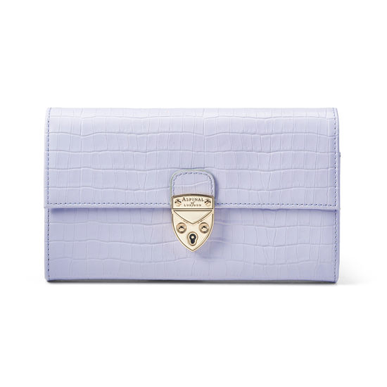 Mayfair Purse in Deep Shine English Lavender Small Croc from Aspinal of London
