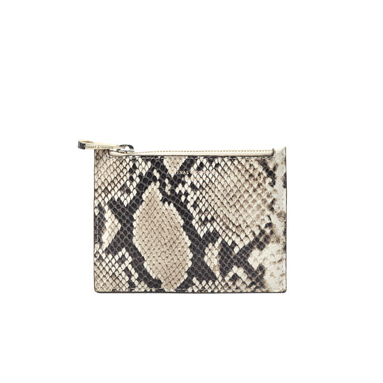 Small Essential Flat Pouch in Embossed Natural Python Print from Aspinal of London
