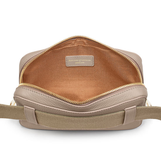 Camera Belt Bag in Soft Taupe Pebble from Aspinal of London