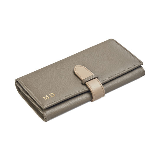 London Ladies Purse Wallet in Warm Grey Pebble & Smooth Soft Taupe from Aspinal of London