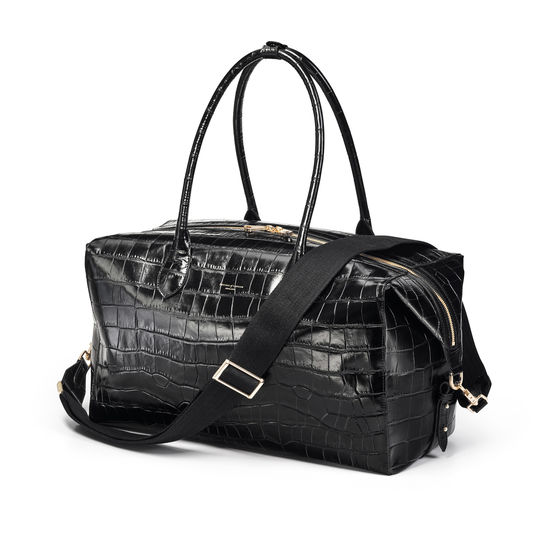 London Travel Bag in Deep Shine Black Soft Croc from Aspinal of London