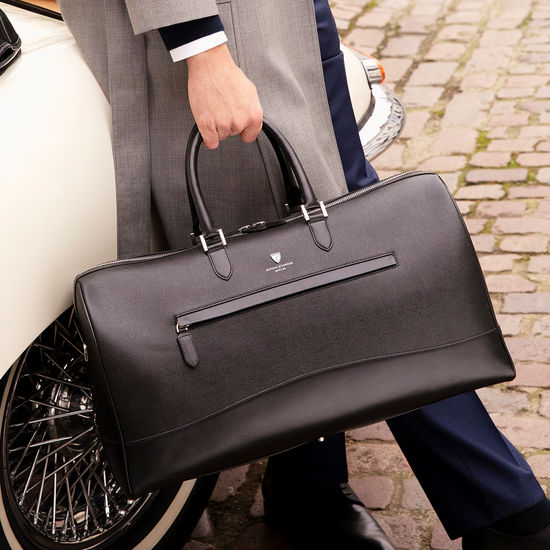 City Holdall in Black Saffiano from Aspinal of London
