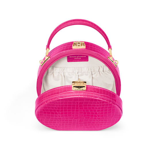 Hat Box in Deep Shine Penelope Pink Small Croc from Aspinal of London