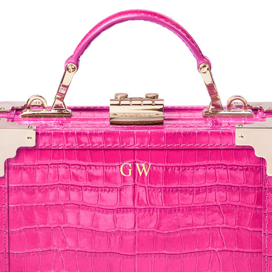 Micro Trunk in Deep Shine Penelope Pink Small Croc from Aspinal of London