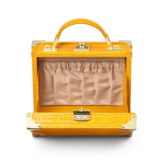 The Trunk in Deep Shine Bright Mustard Small Croc from Aspinal of London