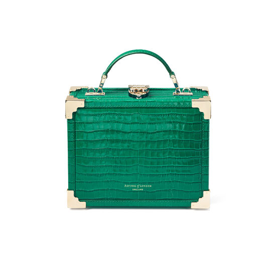 The Trunk in Deep Shine Emerald Green Small Croc from Aspinal of London
