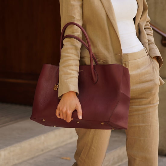 London Tote in Bordeaux Pebble from Aspinal of London
