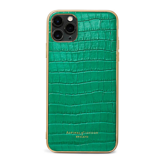 iPhone 11 Pro Max Case with Gold Edge in Deep Shine Emerald Green Small Croc from Aspinal of London