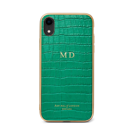iPhone XR Case with Gold Edge in Deep Shine Emerald Green Small Croc from Aspinal of London