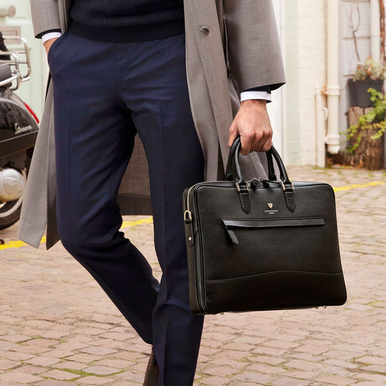 City Laptop Bag in Black Saffiano from Aspinal of London