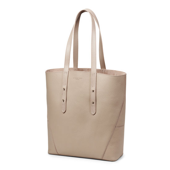 Essential 'A' Tote in Soft Taupe Pebble from Aspinal of London