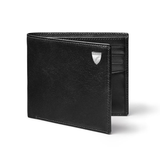8 Card Billfold Wallet in Smooth Black from Aspinal of London
