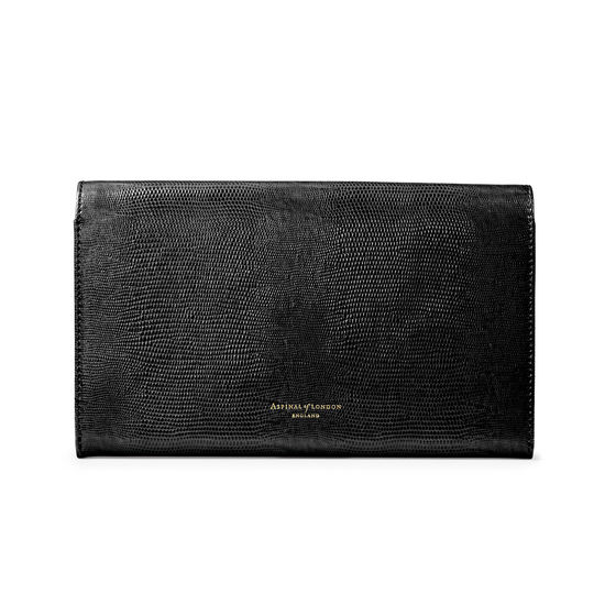 Classic Travel Wallet in Black Silk Lizard from Aspinal of London