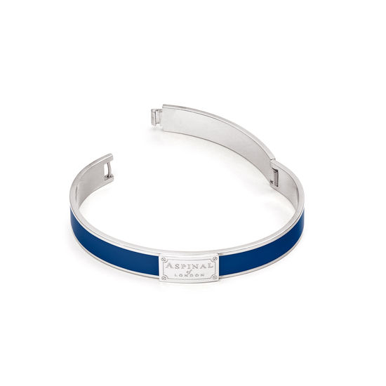 Enamel Bracelet in Navy & Silver from Aspinal of London