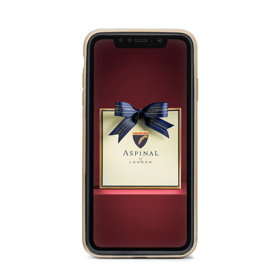 iPhone Xs Case with Gold Edge in Deep Shine Midnight Blue Small Croc from Aspinal of London
