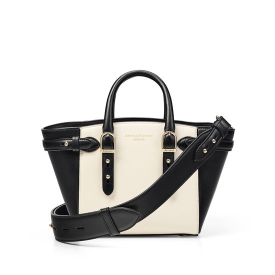 Mini Marylebone Tote in Ivory Saffiano & Smooth Black from Aspinal of London