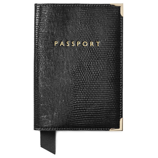Passport Cover in Black Silk Lizard from Aspinal of London