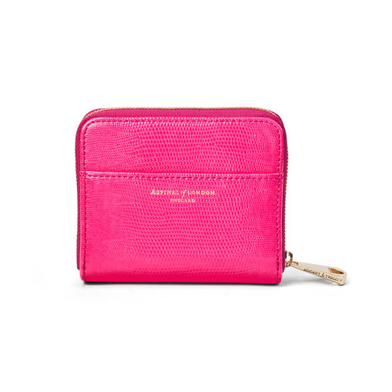 Slim Mini Continental Purse in Penelope Pink Silk Lizard from Aspinal of London