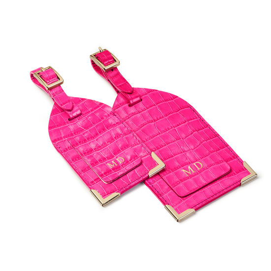 Set of 2 Luggage Tags in Deep Shine Penelope Pink Small Croc from Aspinal of London