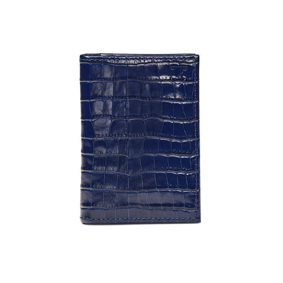 Double Fold Credit Card Holder in Deep Shine Midnight Blue Small Croc from Aspinal of London
