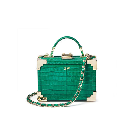 Micro Trunk in Deep Shine Emerald Green Small Croc from Aspinal of London