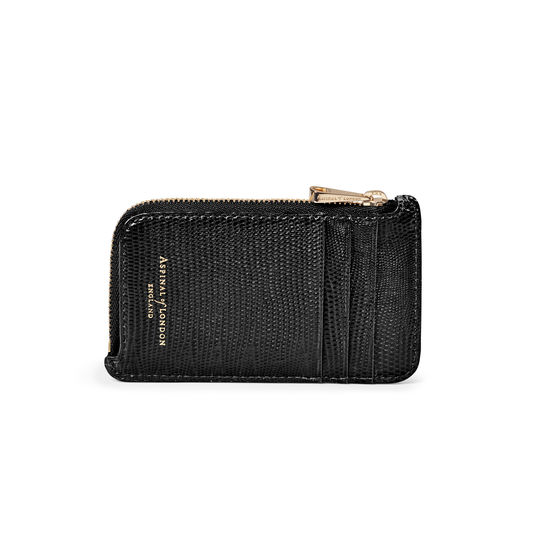 Zipped Coin & Card Holder in Black Silk Lizard from Aspinal of London