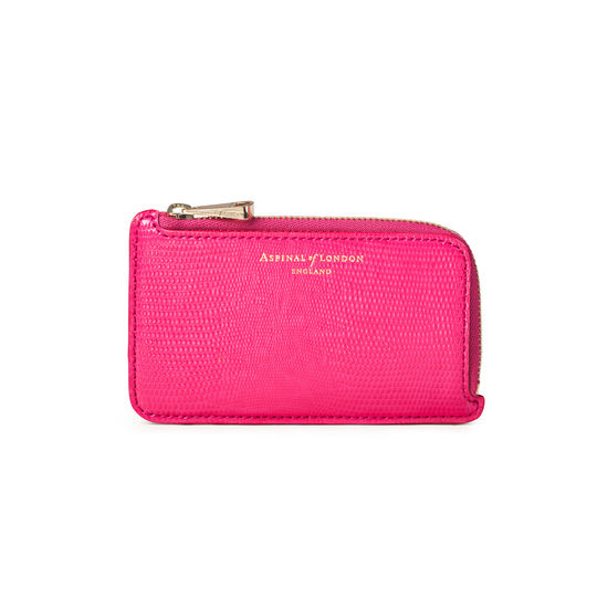 Zipped Coin & Card Holder in Penelope Pink Silk Lizard from Aspinal of London