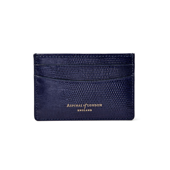 Slim Credit Card Holder in Midnight Blue Silk Lizard from Aspinal of London