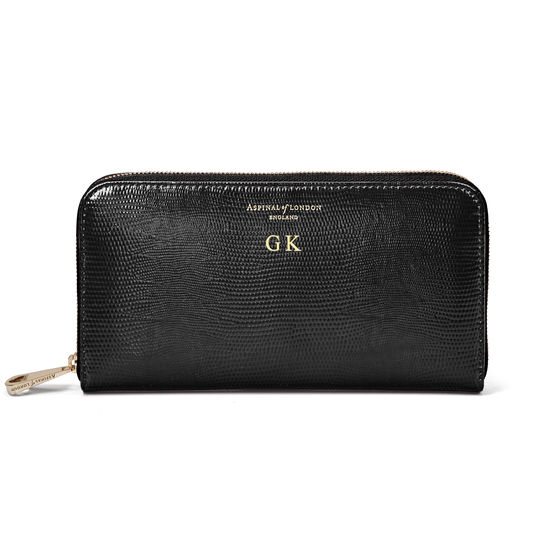 Continental Clutch Zip Wallet in Black Silk Lizard from Aspinal of London